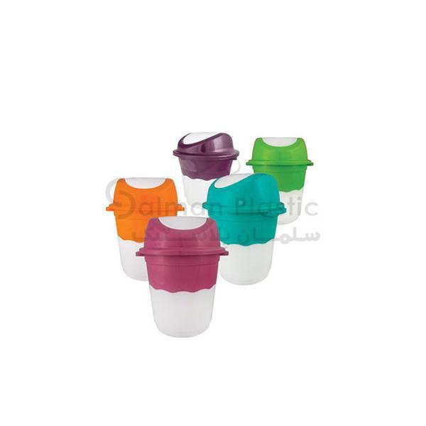 مجموعه سطل های بادبزنی دو رنگ پلاستیکی