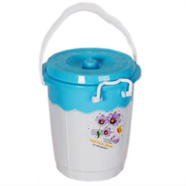 خرید سطل 18 دو رنگ قفلی پلاستیکی کد 218