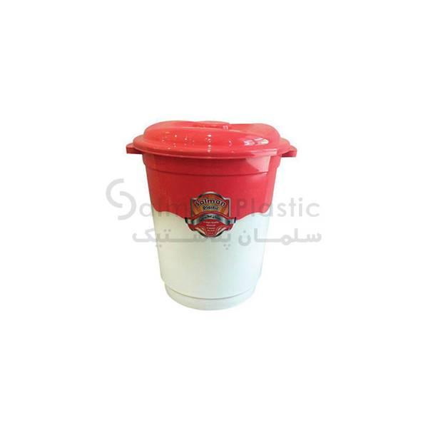 سطل ٦٠٠ دو رنگ درب ساده پلاستیکی