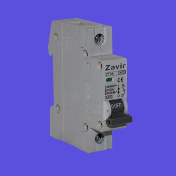 کلید مینیاتوری تک فاز مدل ZT06-1P کلید زاویر