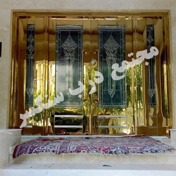 درب استیل 4 لنگه با شیشه استندگلاس