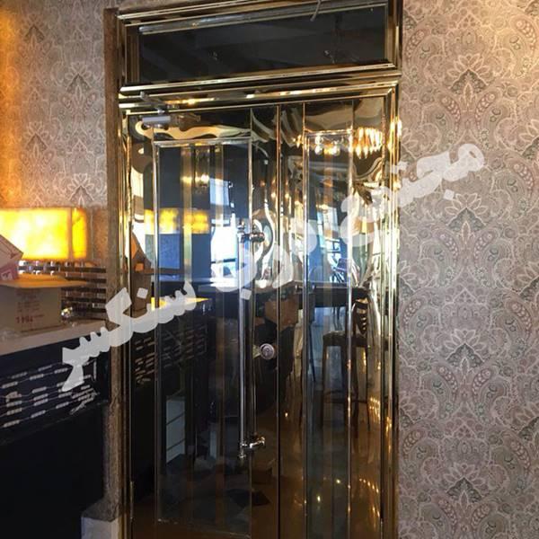درب یک و نیم لنگه استیل طلایی